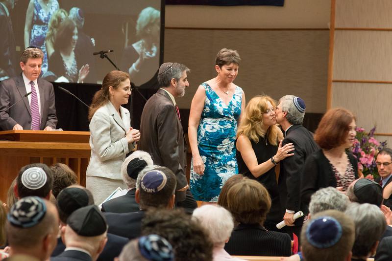 Sharon Zissman greets Rabbi Rudolph -- Tour de Rudolph -- Retirement tribute for Rabbi Bill Rudolph, Congregation Beth El, Bethesda, MD, May 17, 2015