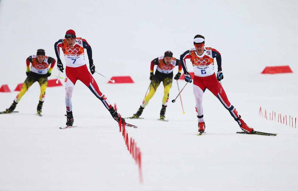 . (L-R) Fabian Riessle of Germany, Magnus Hovdal Moan of Norway, Bjoern Kircheisen of Germany and Joergen Graabak of Norway compete in the Nordic Combined Men\'s 10km Cross Country during day 11 of the Sochi 2014 Winter Olympics at RusSki Gorki Nordic Combined Skiing Stadium on February 18, 2014 in Sochi, Russia.  (Photo by Clive Mason/Getty Images)