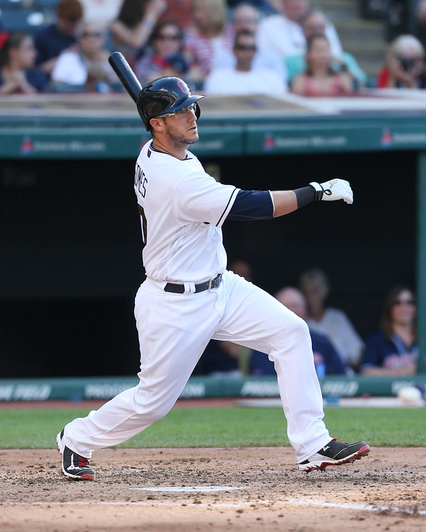 . Cleveland Indians\' Yan Gomes against the Texas Rangers during the second inning of a baseball game Monday, May 30, 2016, in Cleveland. (AP Photo/Ron Schwane)