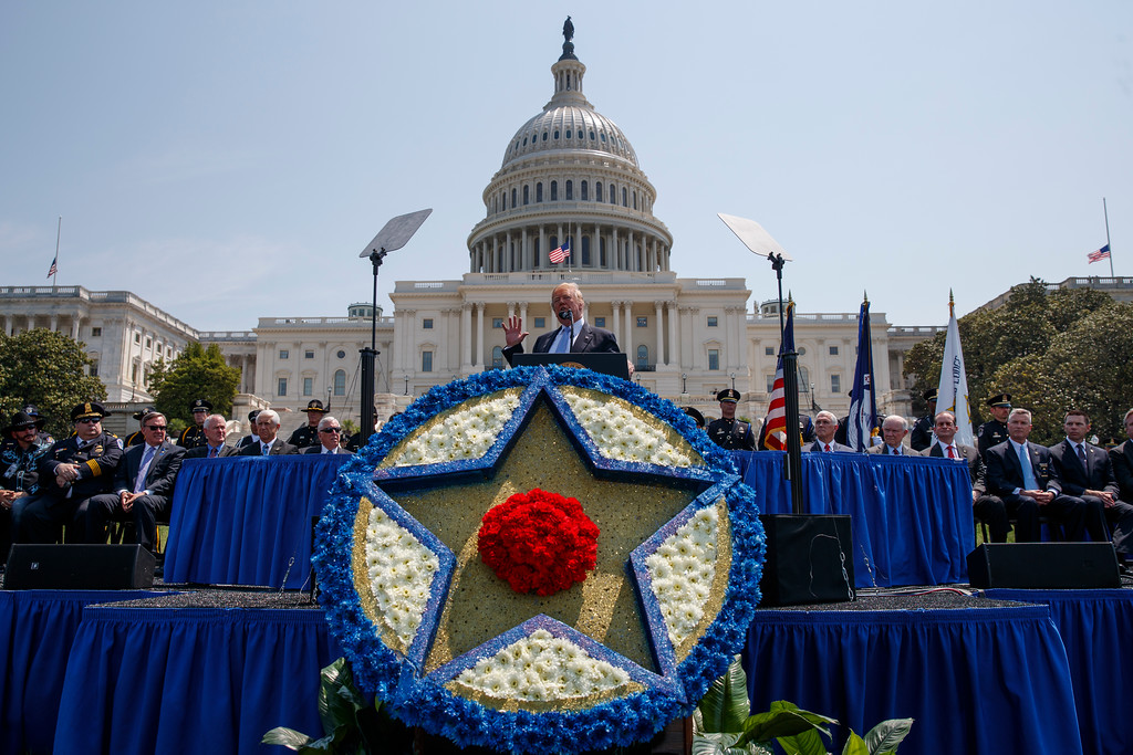 . President Donald Trump speaks during the 37th annual National Peace Officers Memorial Service on Capitol Hill, Tuesday, May 15, 2018, in Washington. (AP Photo/Evan Vucci)