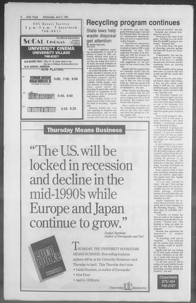Daily Trojan, Vol. 114, No. 51, April 03, 1991