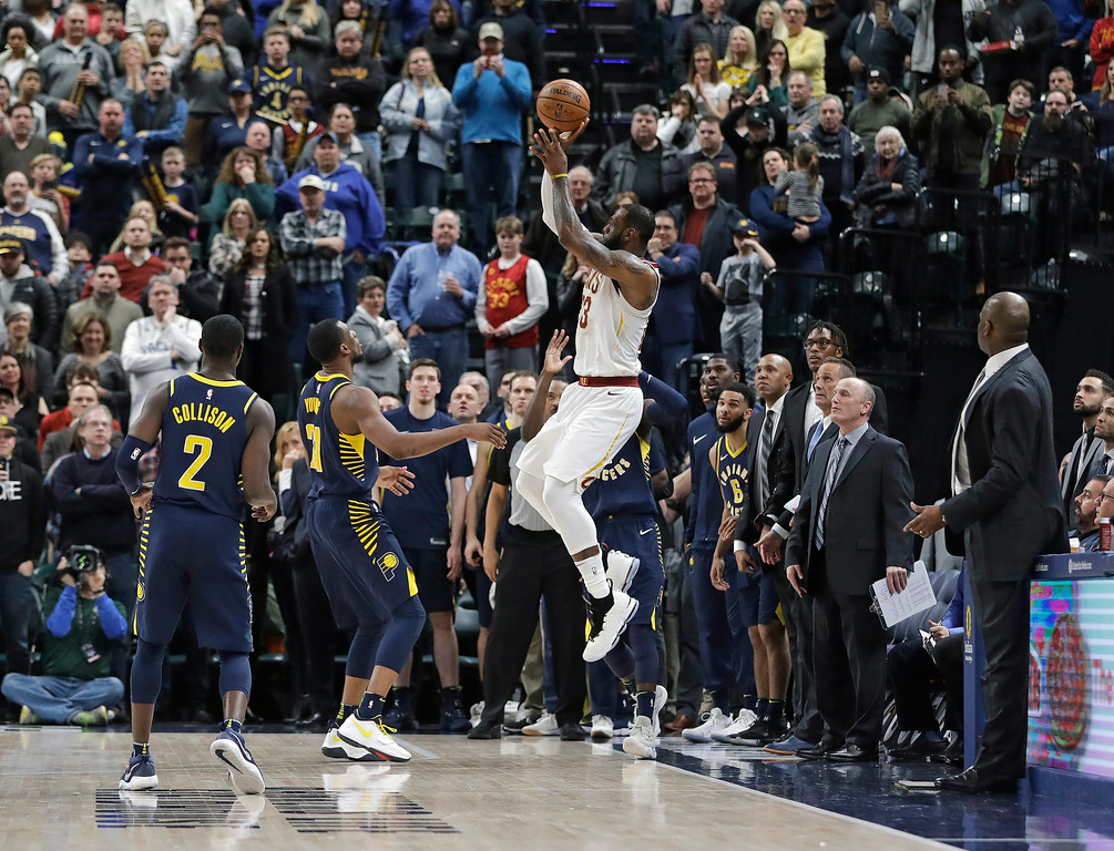 . Cleveland Cavaliers\' LeBron James misses a basket as time expires in an NBA basketball game against the Indiana Pacers, Friday, Jan. 12, 2018, in Indianapolis. (AP Photo/Darron Cummings)
