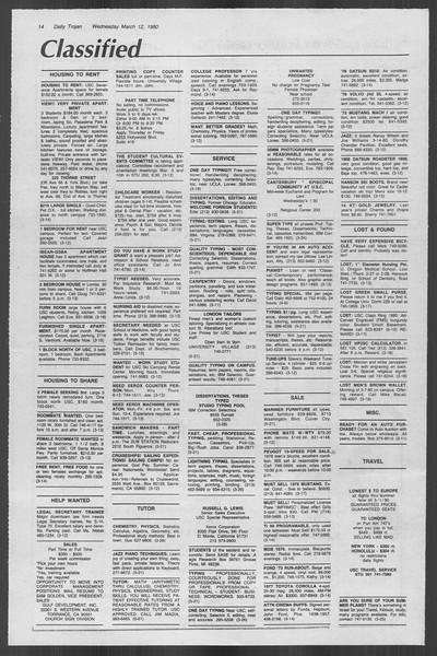 Daily Trojan, Vol. 88, No. 26, March 12, 1980