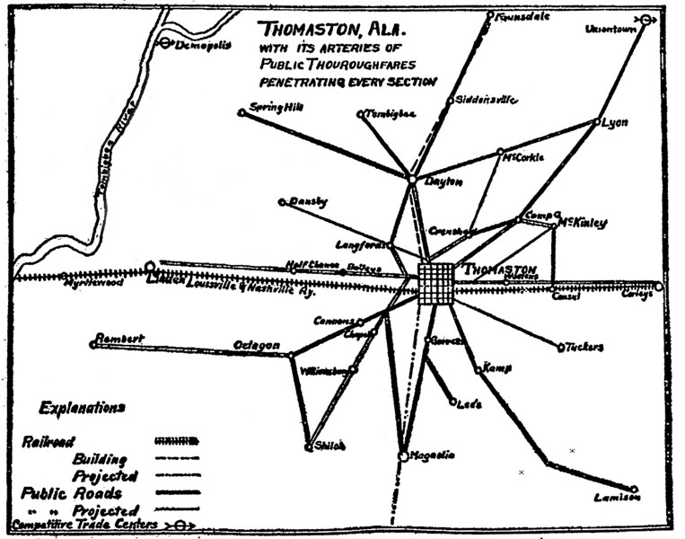 Thomaston with it's arteries of public thouroughfares...