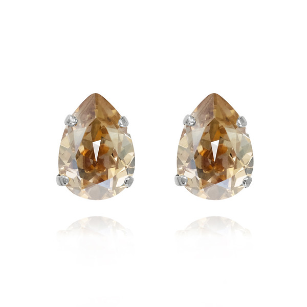 Mini Drop Stud Earrings / Golden Shadow Rhodium