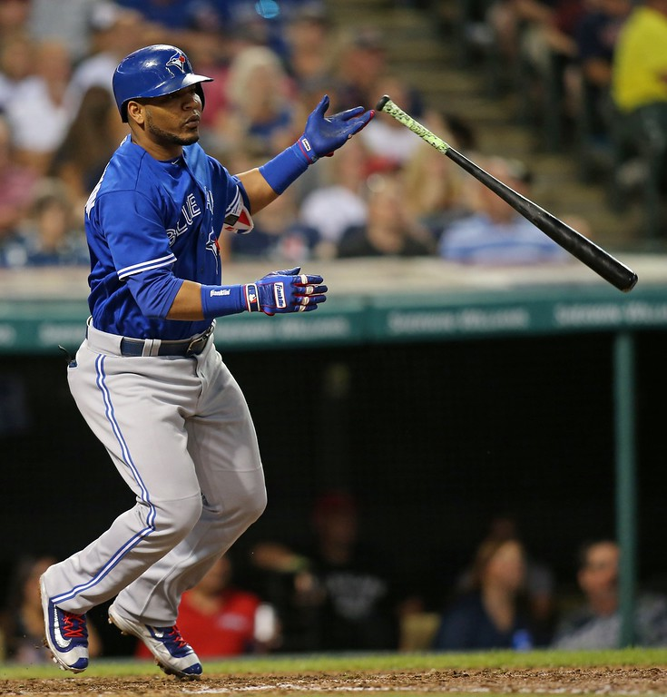 . Toronto Blue Jays Edwin Encarnacion during a baseball game against the Indians Saturday, Aug. 20, 2016, in Cleveland. (AP Photo/Aaron Josefczyk)