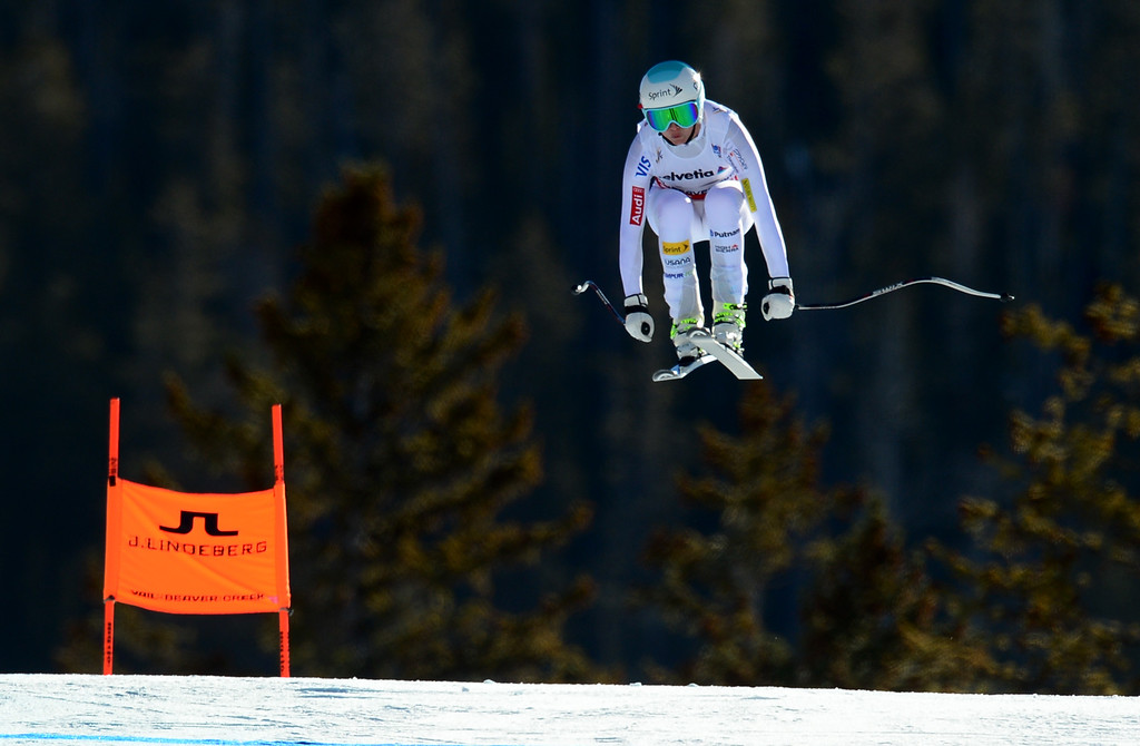 . Julia Mancuso, (USA) flies over the Red Tail jump, the last jump, in the Women\'s downhill race in the FIS Alpine World Ski Championships in Beaver, CO. February 6, 2015. Mancuso was 16th in the race. (Photo By Helen H. Richardson/The Denver Post)
