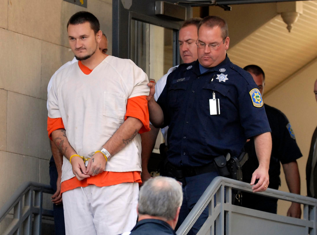 . Adam Lee Hall exits Berkshire Superior Court for arraignment on multiple charges, including murder, Tue Oct 11, 2011 (GARVER)