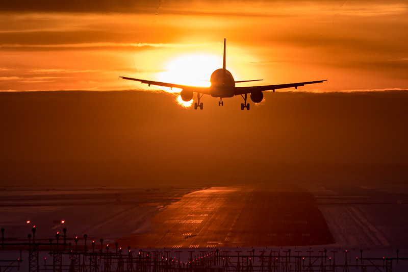 Landing against sunset