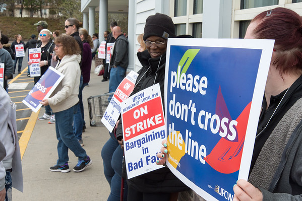 04/11/19 Wesley Bunnell | Staff Stop & Shop workers hold picket signs outside of the Stop & Shop in New Britain on Thursday afternoon after all area stores went on strike starting at 1pm.