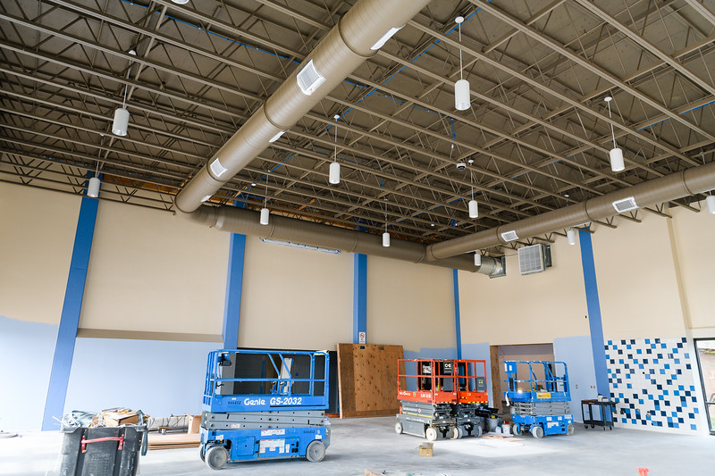 New tiling and ceiling lights installed in the cafeteria/commons building at Gubser Elementary on Friday, August 16, 2019, in Keizer, Ore.