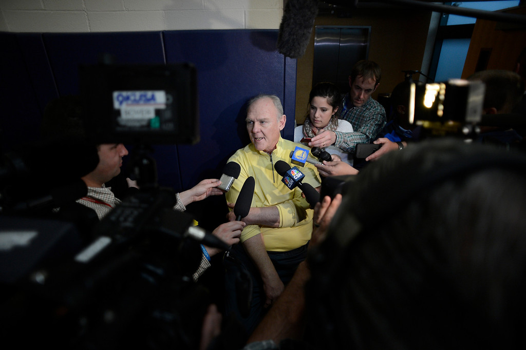 . Head coach George Karl of the Denver Nuggets talks with the media during practice April 22, 2013 at Pepsi Center.  (Photo By John Leyba/The Denver Post)