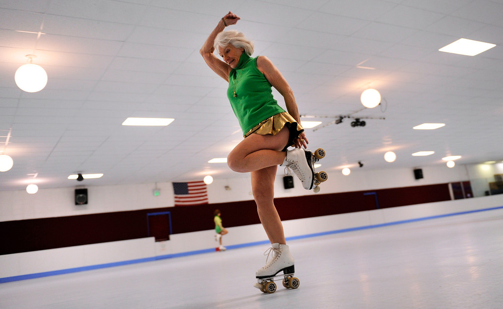 . Shirley Gist of Highland ranch sails around the rink during the fitness skate class at US on Wheels in Arvada. It used to be the ladies exercise class but there are men and women now so it\'s exercising on skates every Wednesday morning at US on Wheels in Arvada, Colorado, Wednesday,  March 14,  2012.      Joe Amon, The Denver Post