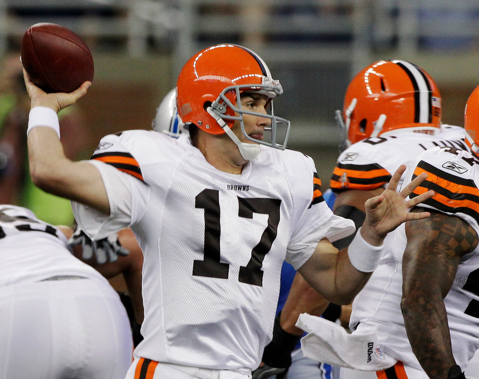 . News-Herald file Cleveland Browns quarterback Jake Delhomme (17) passes during the first quarter of an NFL preseason football game against the Detroit Lions on Saturday, Aug. 28, 2010, in Detroit.