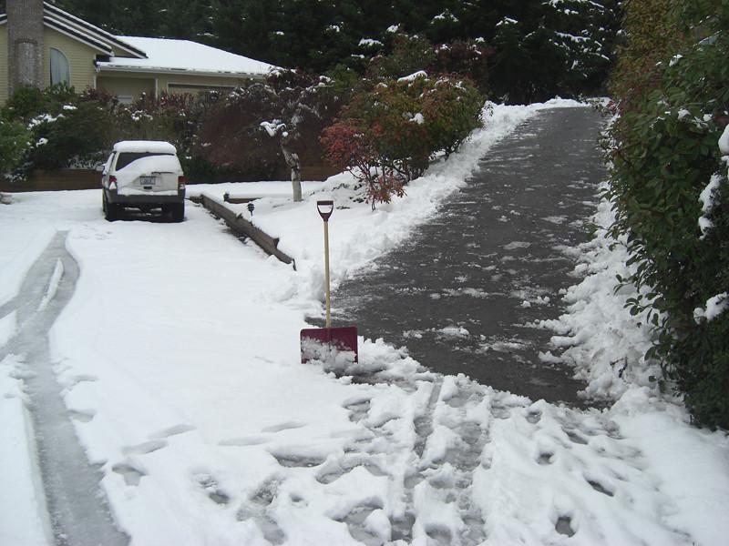 Shoveling. First snow of 2012 melting. Freeland, Whidbey Island. January 20, 2012.