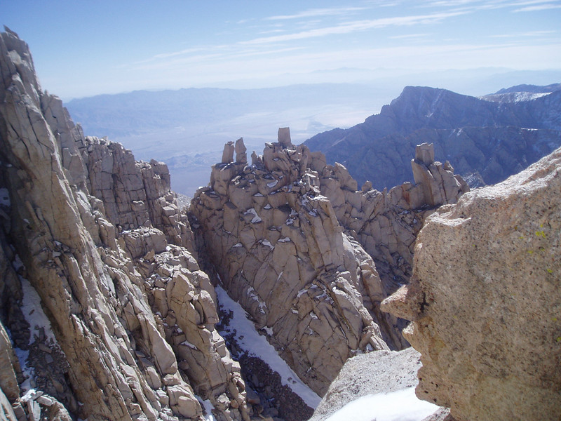 View on the rock blocks. Ovens Valley in the background. Lone Pine Peak is on the right