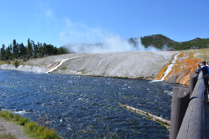 Welcome to Midway Geyser Basin.  Those are hot streams flowing into the river.