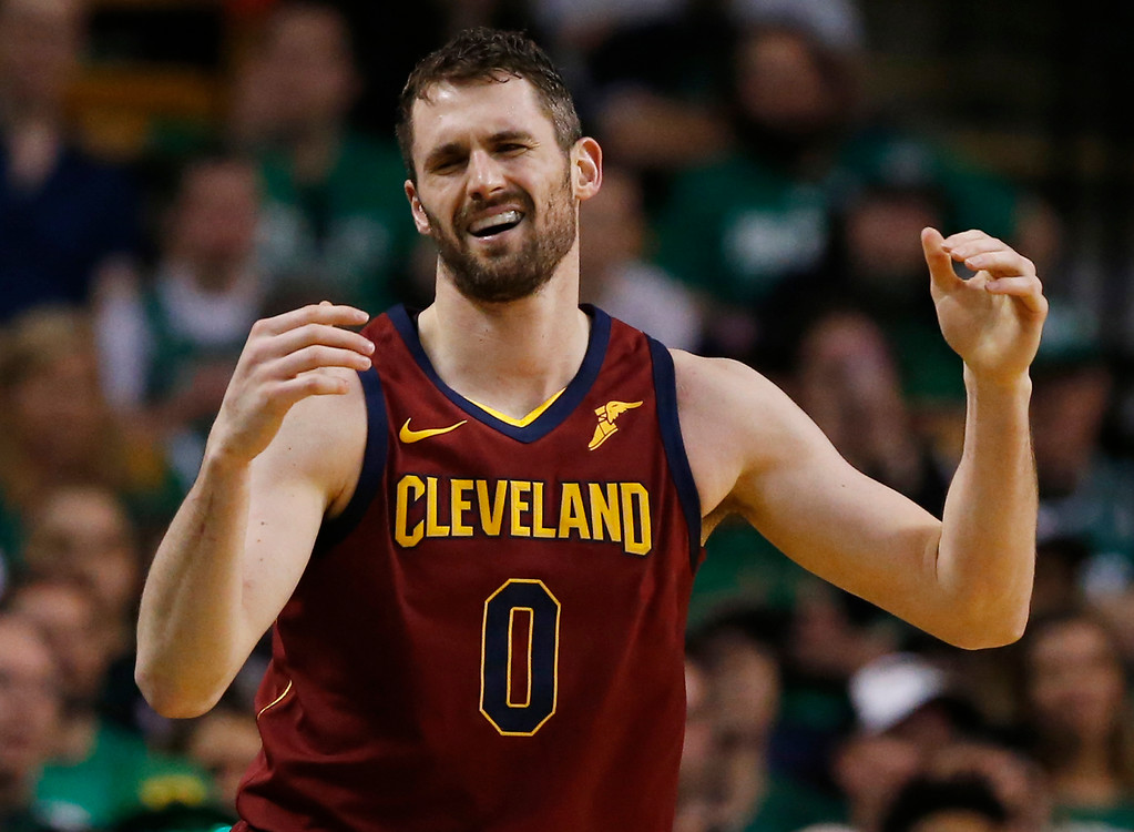 . Cleveland Cavaliers center Kevin Love (0) reacts with frustration during the third quarter of Game 1 of the NBA basketball Eastern Conference Finals against the Boston Celtics, Sunday, May 13, 2018, in Boston. (AP Photo/Michael Dwyer)