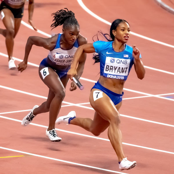 Dezerea Bryant (USA) and Dina Asher-Smith (GBR) compete in the Women's 4x100m relay during day nine of 17th IAAF World Athletics Championships Doha 2019 at Khalifa International Stadium on October 05, 2019 in Doha, Qatar. Photo by Tom Kirkwood/SportDXB