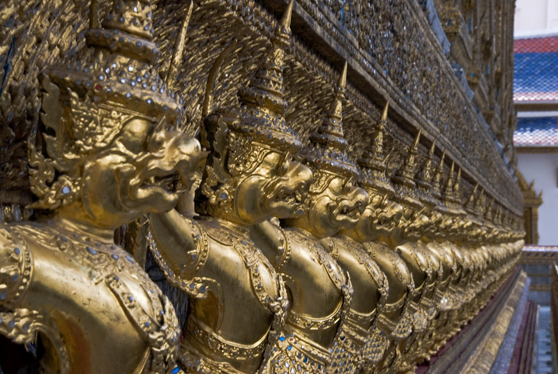 Golden statues inside Wat Phra Kaew - Bangkok, Thailand