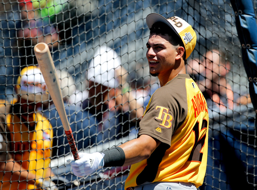 . World Team\'s Willy Adames, of the Tampa Bay Rays, prepares to hit prior to the All-Star Futures baseball game against the U.S. Team, Sunday, July 10, 2016, in San Diego. (AP Photo/Lenny Ignelzi)