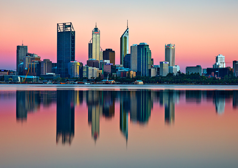 Image Title: Perth City Sunrise.  Image No. kee5398b View from South Perth, pre dawn