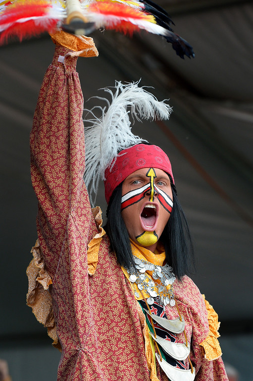 . Florida State mascot Chief Osceola pumps up the crowd before the BCS game at the Rose Bowl, Monday, January 6, 2014. (Photo by Michael Owen Baker/L.A. Daily News)