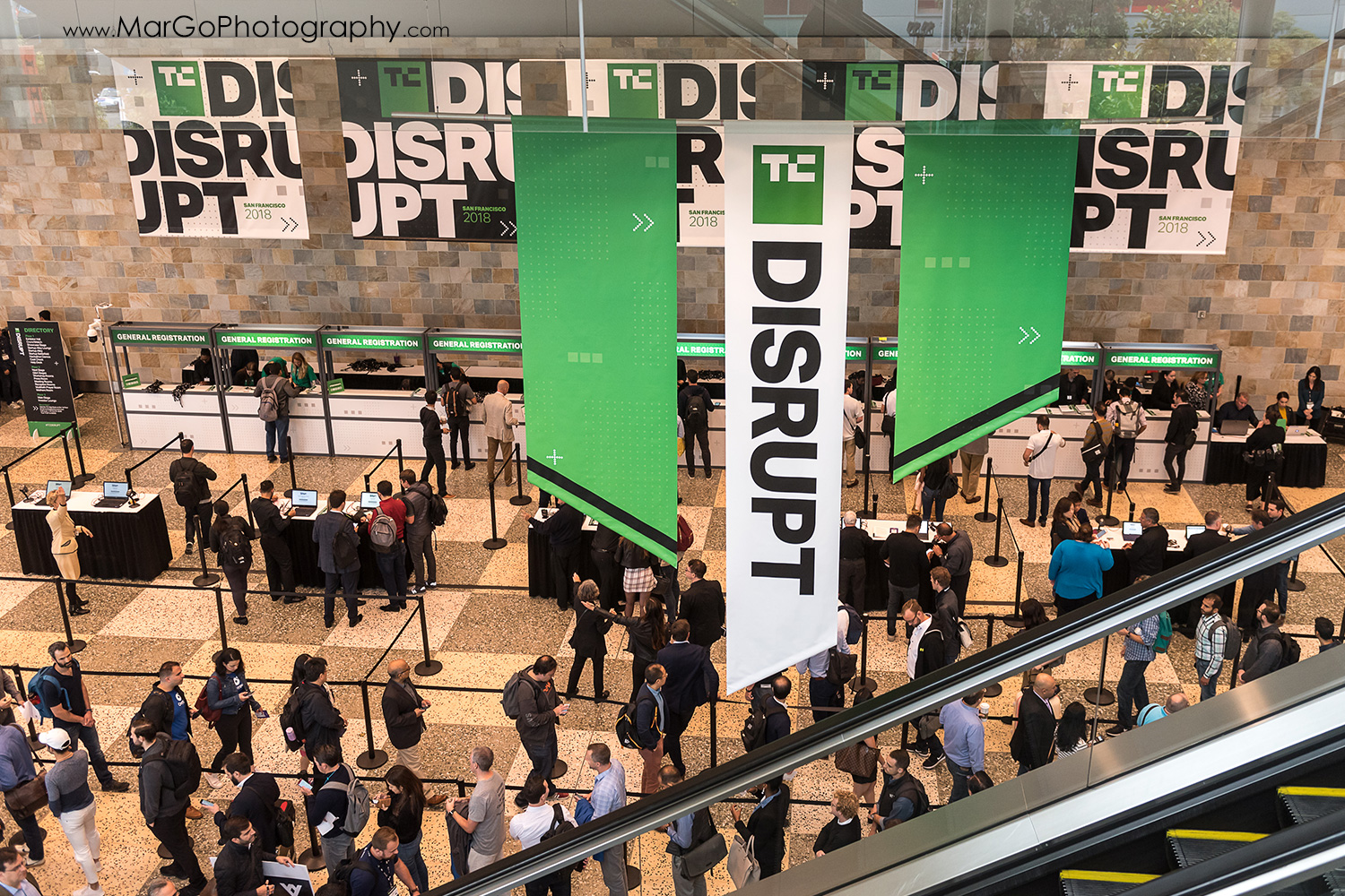 lines to enter to Disrupt SF at the Moscone Center West in San Francisco