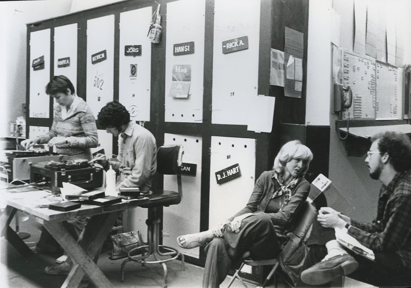 1976 - screenwriters editing room w: Ellie Goodwin & Jeffrey Marconi-Orth.jpeg