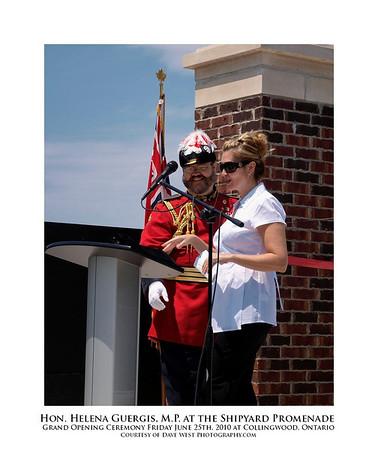 Hon. Helena Guergis, M.P. at the Shipyard Promenade Opening Ceremony