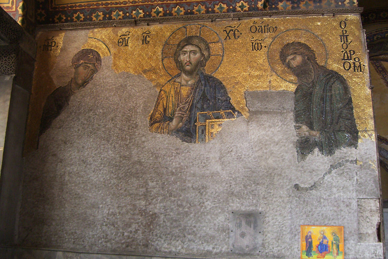 "78. Many Christian mosaics were plastered over by iconoclasts in the 8th century, but were uncovered after Hagia Sophia (Aya Sofya) was declared a museum by Ataturk in 1935. This ""Entreaty"" mosaic dates from 1261. The Virgin Mary and John the Baptist are imploring the intercession of Christ Pantocrator for humanity on Judgment Day."