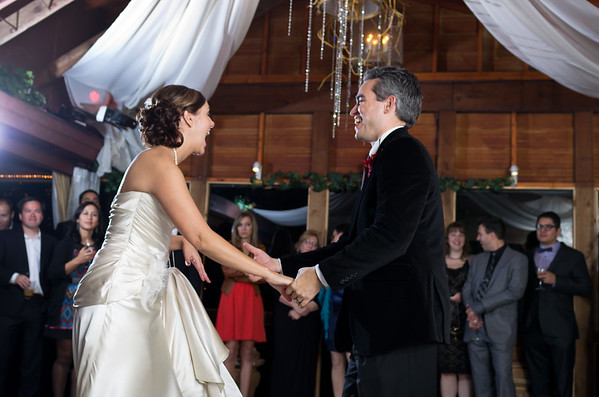 Wedding couple have fun during first dance