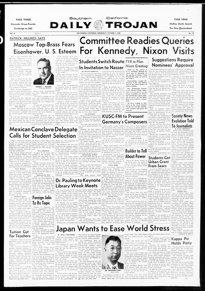 Daily Trojan, Vol. 52, No. 13, October 05, 1960