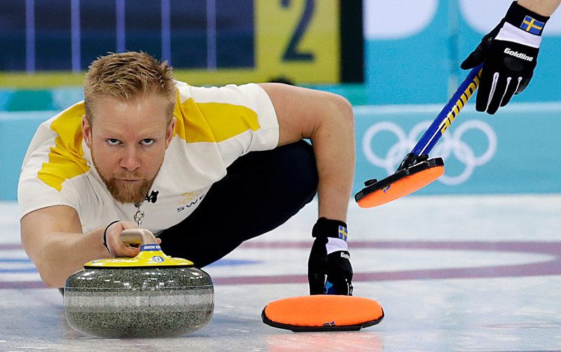 . Sweden\'s skip Niklas Edin, delivers the rock during the men\'s curling bronze medal game against China at the 2014 Winter Olympics, Friday, Feb. 21, 2014, in Sochi, Russia. (AP Photo/Wong Maye-E)