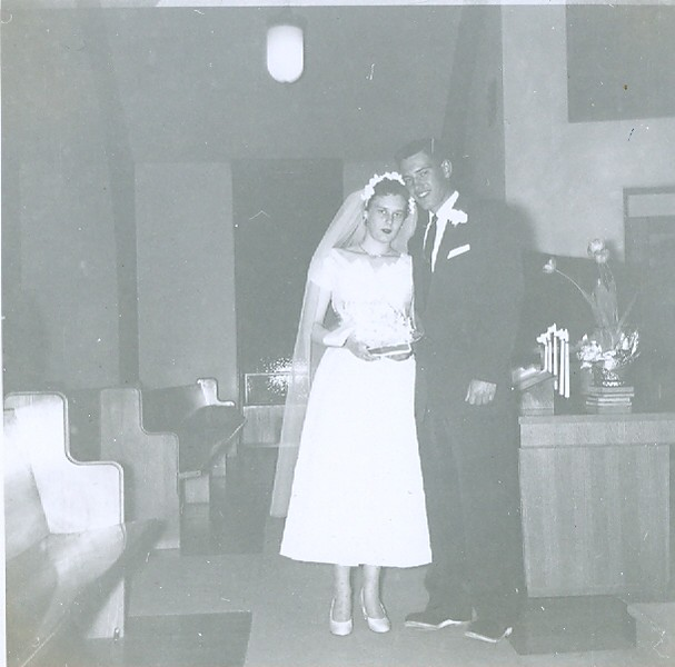 Cleabelle Pearce (about to become Cleabelle Wilson, later Cleabelle Dobbins) and Robert Wilson on their wedding day.