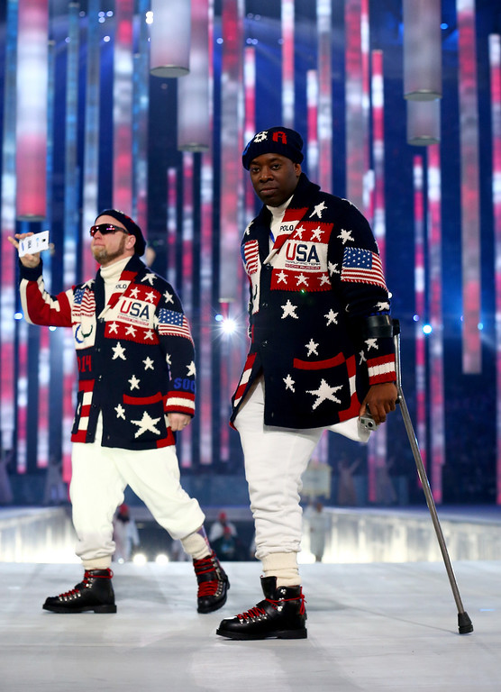 . Members of the United States team enter the stadium during the Opening Ceremony of the Sochi 2014 Paralympic Winter Games at Fisht Olympic Stadium on March 7, 2014 in Sochi, Russia.  (Photo by Tom Pennington/Getty Images)