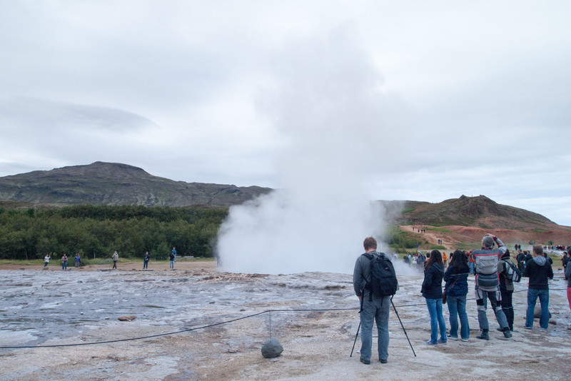 Strokkur geyser at Geysir park.  This one erupts every 8 minutes or so.