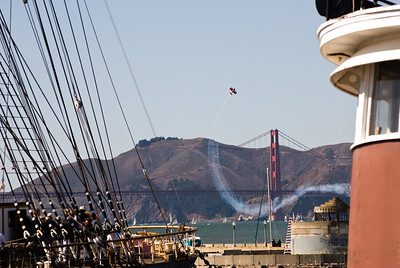 Pilot Michael Wiskus pulling up his Pitts double-decker in front of the Golden Gate Bridge.