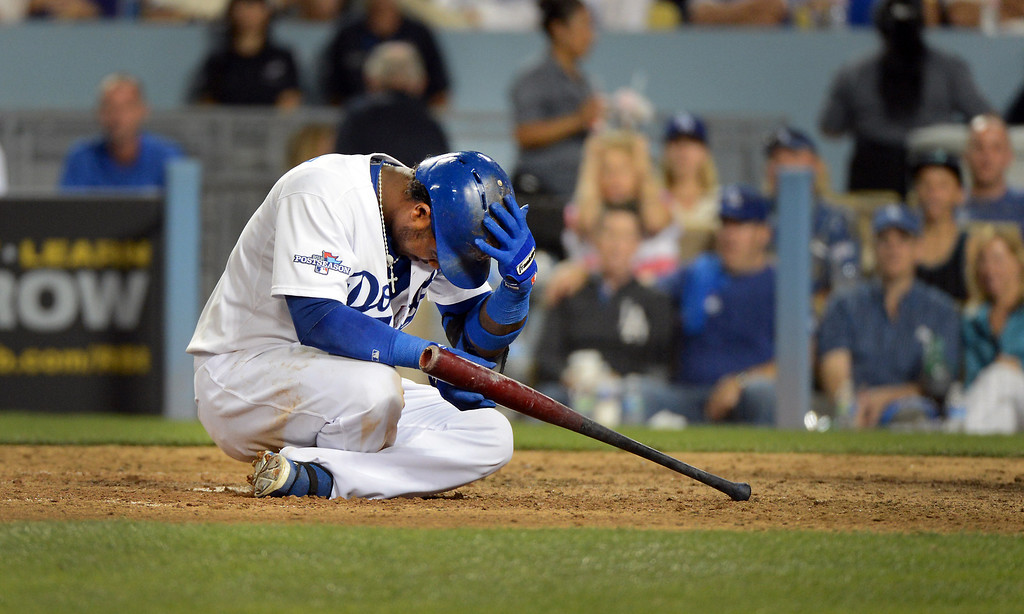 . Dodgers\' Hanley Ramirez pauses during an at bat during game 3 of the NLDS at Dodger Stadium Sunday, October 6, 2013. (Photo by David Crane/Los Angeles Daily News)