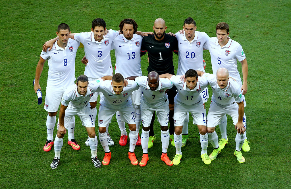 . United States players pose for a team photo prior to the 2014 FIFA World Cup Brazil Round of 16 match between Belgium and the United States at Arena Fonte Nova on July 1, 2014 in Salvador, Brazil.  (Photo by Robert Cianflone/Getty Images)