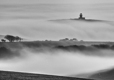 Belle Tout Lighthouse in a sea of mist