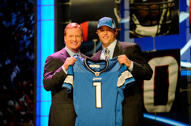 . Matthew Stafford, Georgia Selected first overall by the Lions in 2009 In four seasons in the NFL, Stafford has evolved into one of the game�s most prolific passers. He threw for more than 4,900 yards in both 2011 and 2012, leading the NFL in pass attempts in both seasons. However, after a 10-6 season and playoff appearance in 2011, Stafford�s Lions slumped to 4-12 in 2012.  GRADE: A+. Has put up franchise numbers, and you have to expect wins will soon follow. (Photo by Jeff Zelevansky/Getty Images)