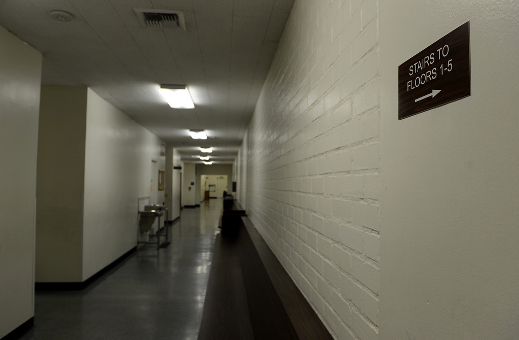 . The public hallway in which inmates were escorted through in the historic San Bernardino Superior Courthouse in downtown San Bernardino, CA, Monday, April 28, 2014. (Photo by Jennifer Cappuccio Maher/Inland Valley Daily Bulletin)