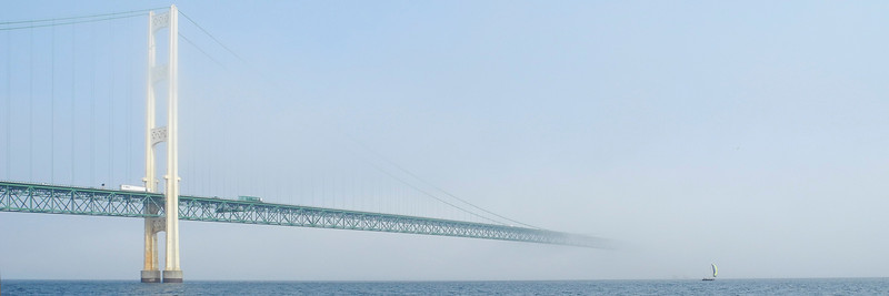 This is our second try at leaving Mackinac City.  The first time we were engulfed in pea soup fog shortly after leaving.