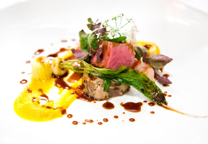 Poached Loin & Slow-Cooked Shoulder of Milly Hill Lamb, Succulents, Spring Heirloom Vegetables, Purple Shiso Leavesl