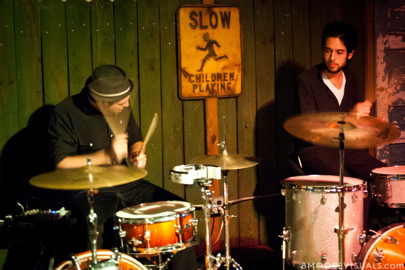 Dean Lorenz of MRENC performs with Jared Bowser of Sunbears! on November 24, 2010 at New World Brewery in Ybor City, Tampa, Florida