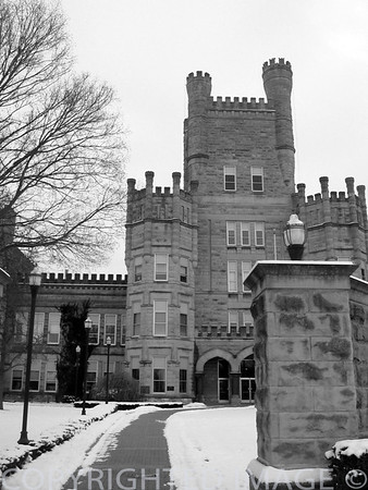Collegiate EIU in winter (B & W)
