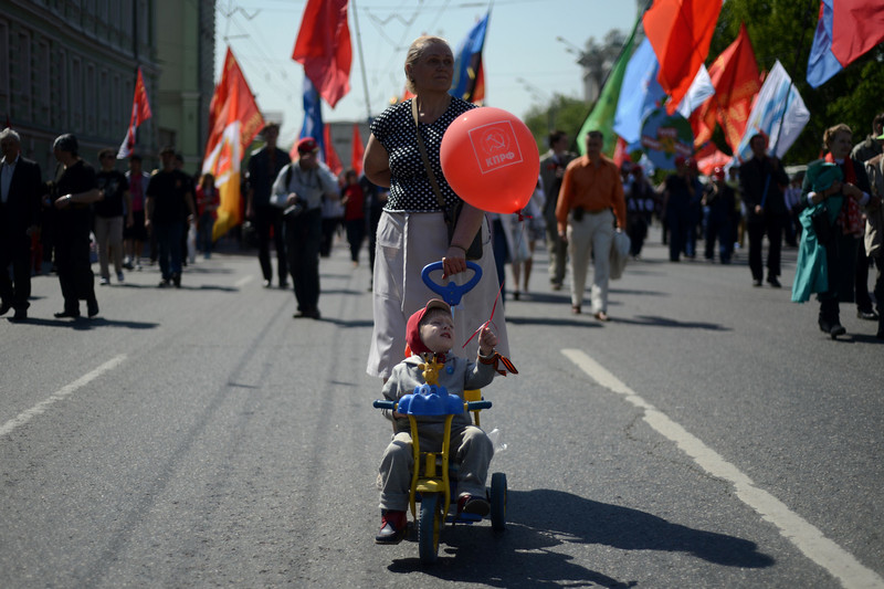 . Russian Communist Party activists parade in central Moscow on May 1, 2014, during their traditional May Day rally. (KIRILL KUDRYAVTSEV/AFP/Getty Images)
