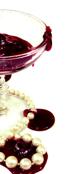 """Yes yes, let's do a fake blood-filled cup and some shitty pearls cause Anne Rice got me hooked on fucken vampires in the 90's!"" Shot again with a point and shoot, with some lamps for lighting and some brutal Photoshop work to make up for the lack of lighting knowledge. Also had clearly not heard the term ""Color Temperature"" yet."