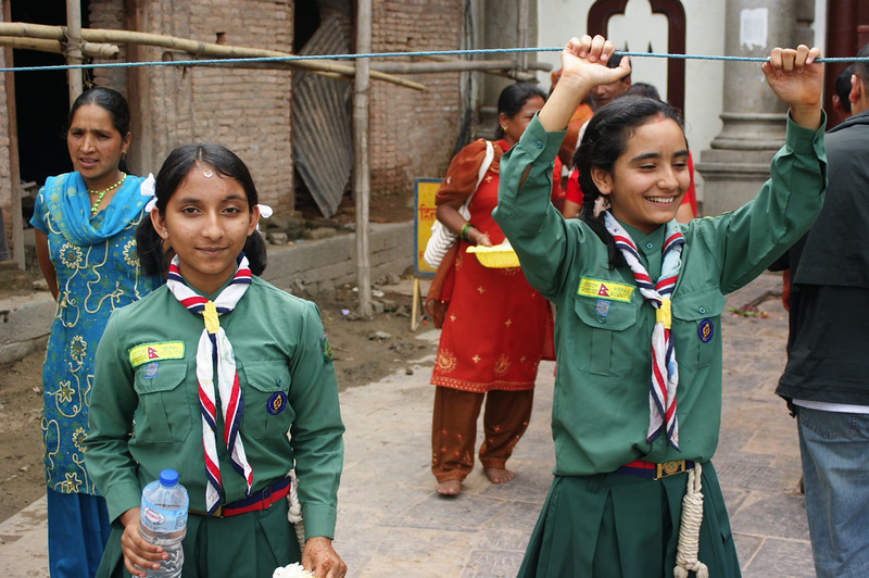 Girl guides on crowd control at the main temple.
